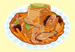 厚揚げの野菜たっぷり⽢酢あん
